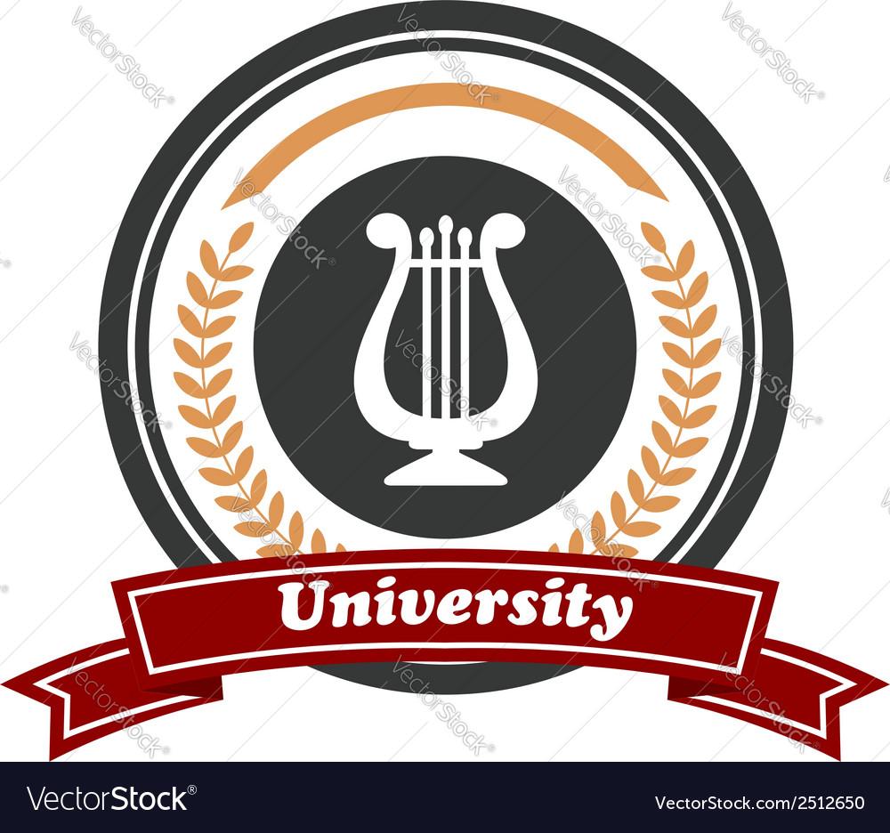 Art University emblem with laurel wreath vector image