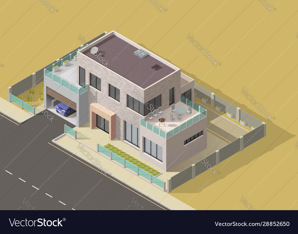 Bungalow villa or mansion isometric building