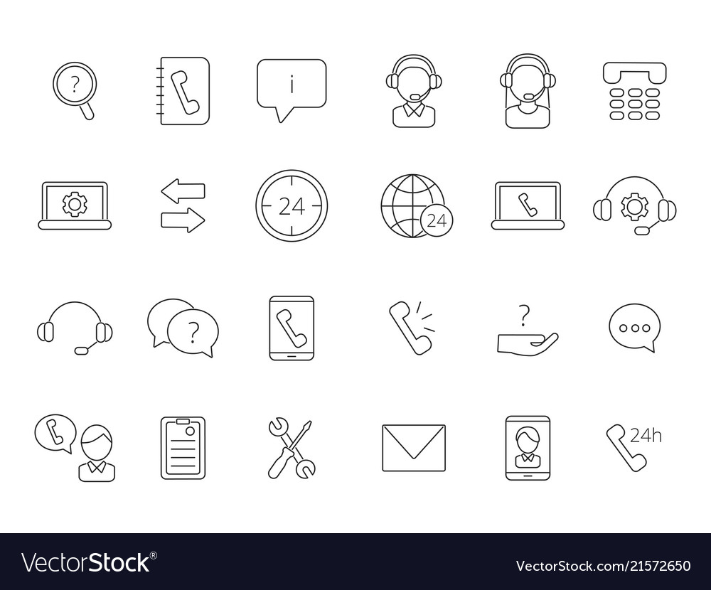 Call center support icons linear symbols