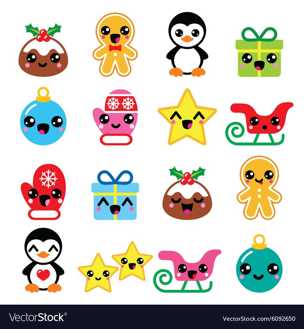 Christmas cute Kawaii characters icons
