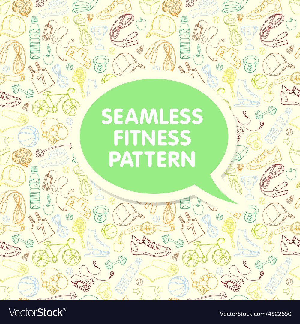 Color Sport and fitness seamless doodle pattern