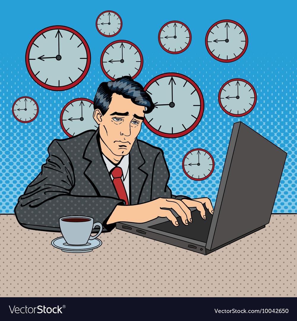 Depressed Businessman Stayed Late at Work Pop Art