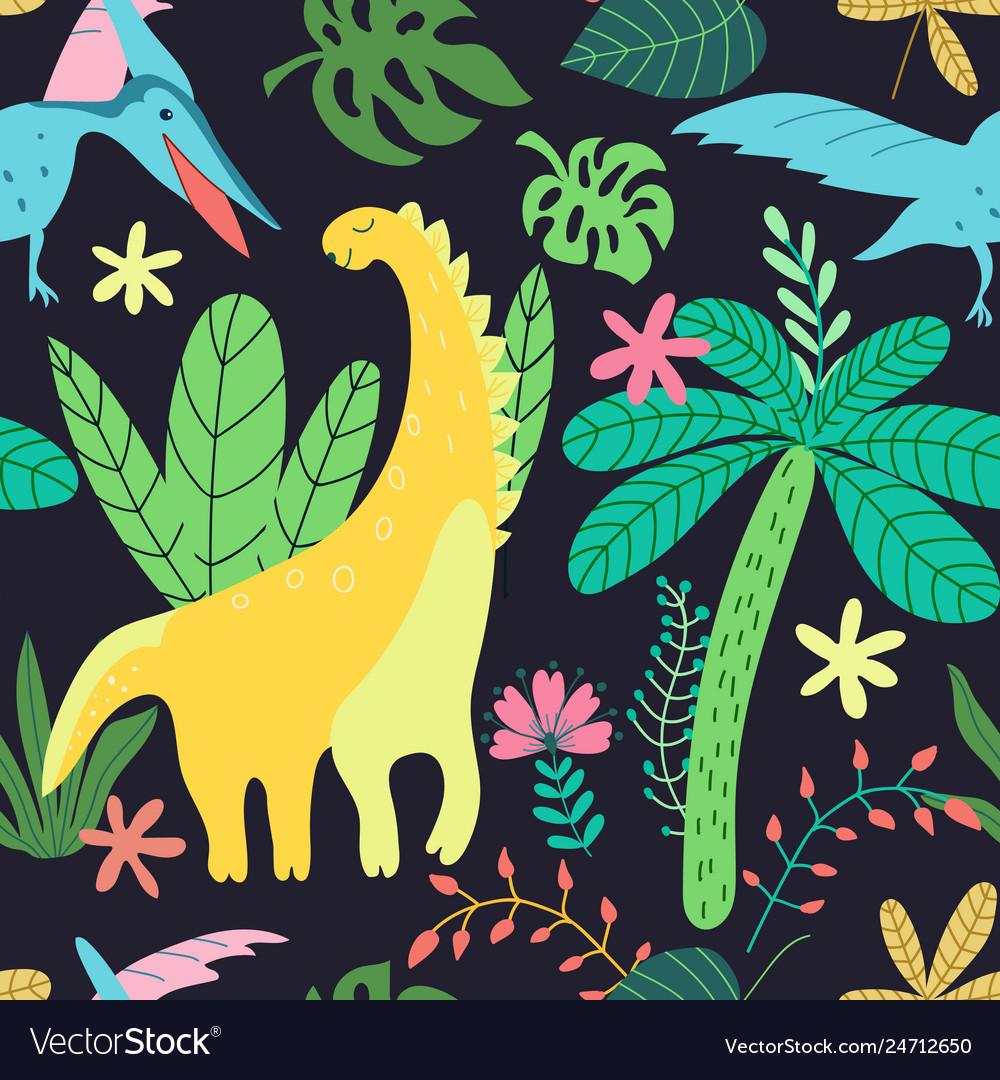 Dinosaurs pattern kids in cartoon style on black