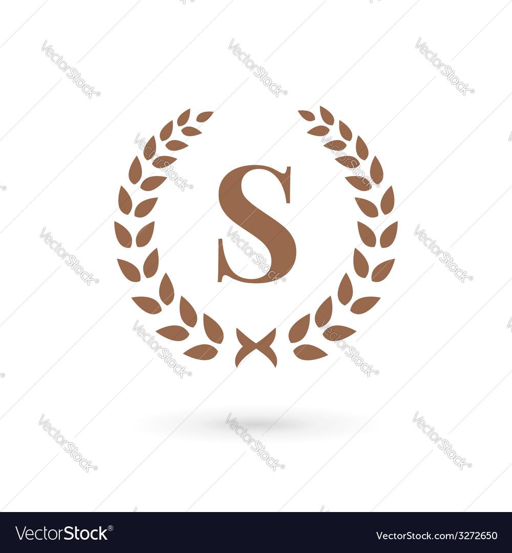 letter s laurel wreath logo icon design template vector image
