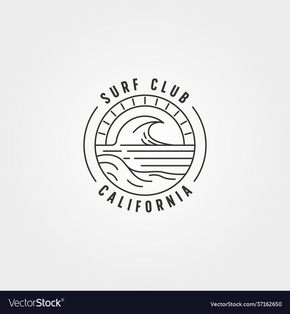 Line art surf and wave logo symbol design