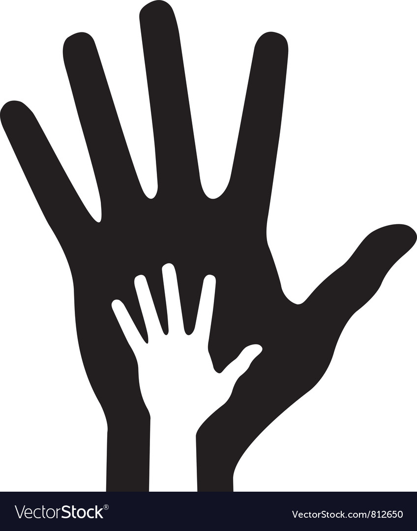 Parent hand with baby hand vector image