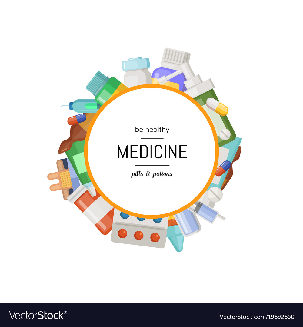 Pharmacy or medicines around circle vector image