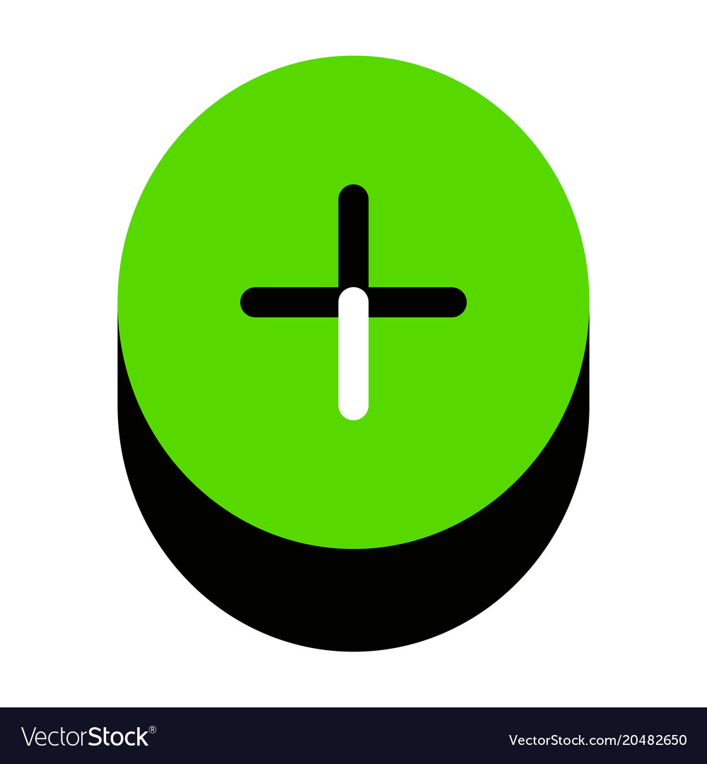 Positive Symbol Plus Sign Green 3d Icon Royalty Free Vector
