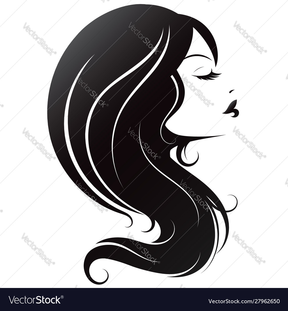 Profile A Girl With Beautiful Hair Royalty Free Vector Image