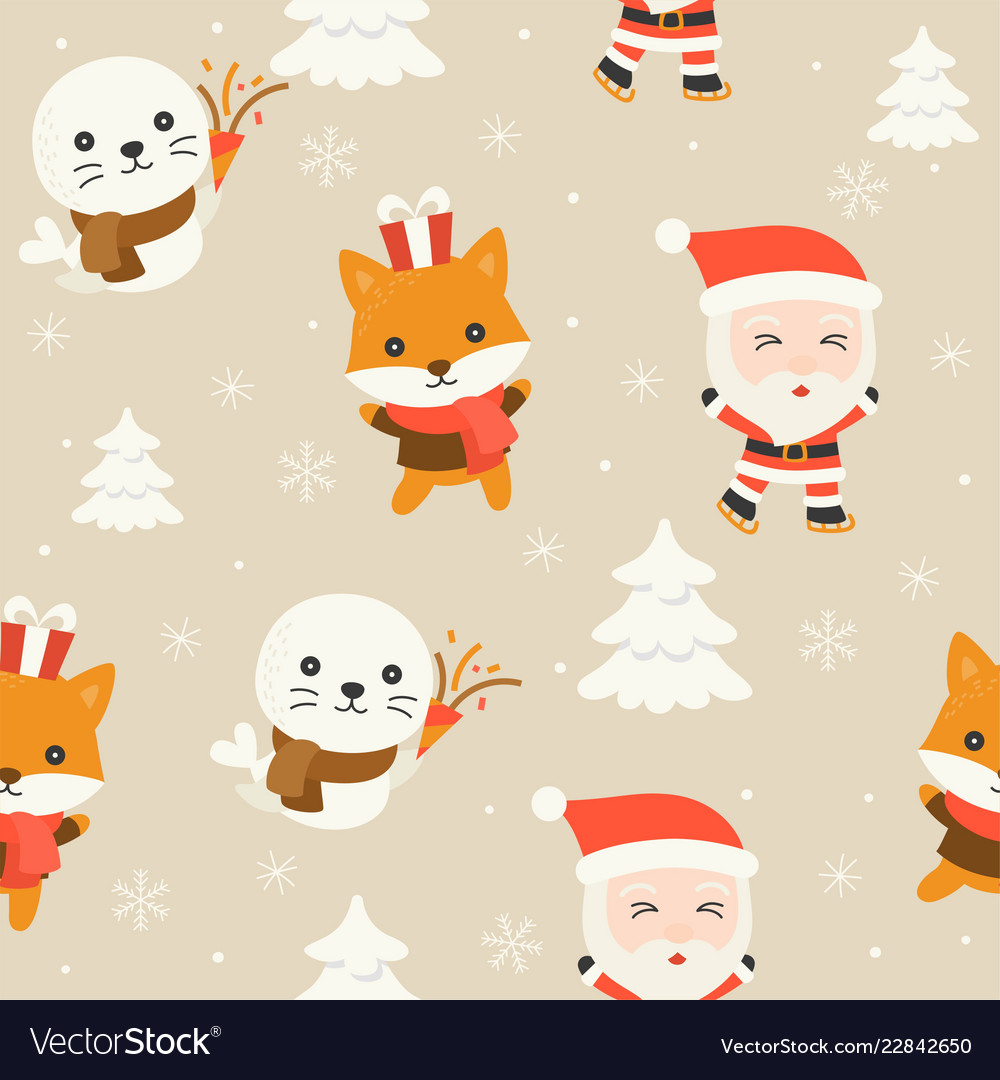Santa and arctic animal editable line detail in