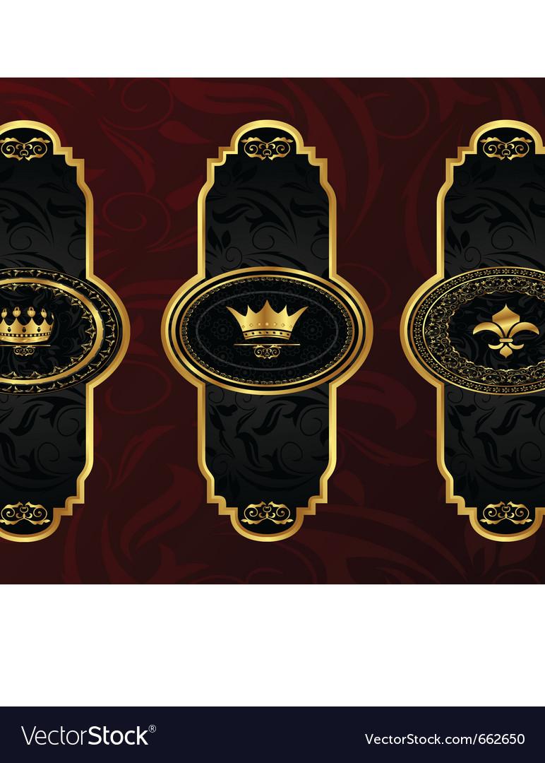 Set gold vintage labels with design elements vector image