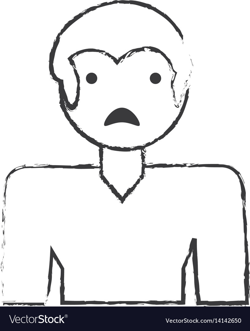 Sketch man male sad face