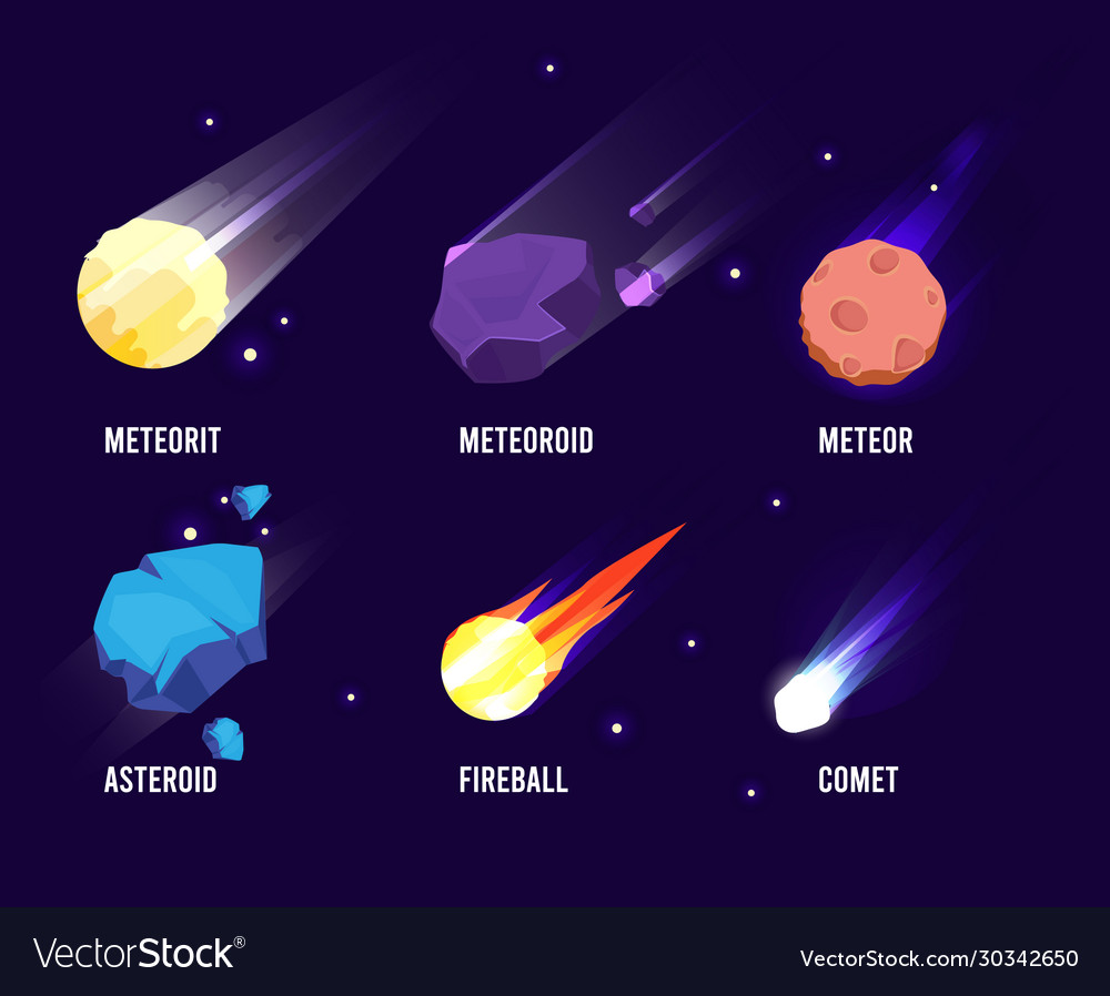 Space objects glowing universe astronomy set