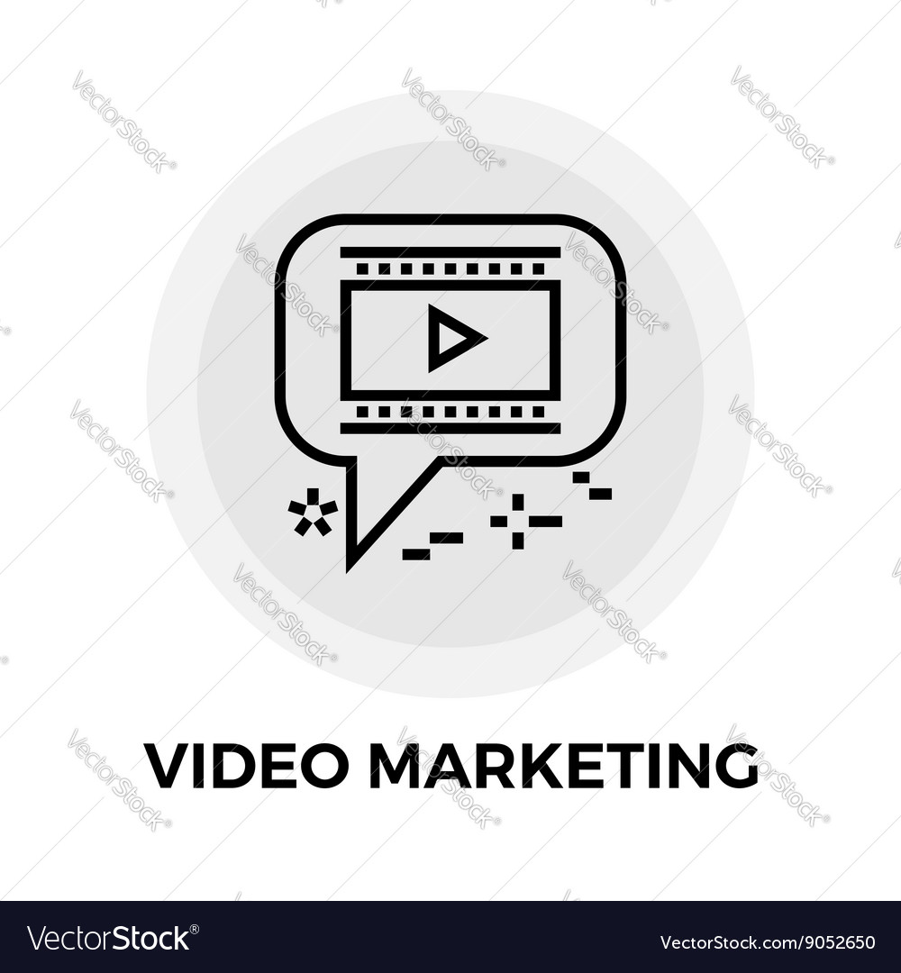 Video Marketing Line Icon vector image