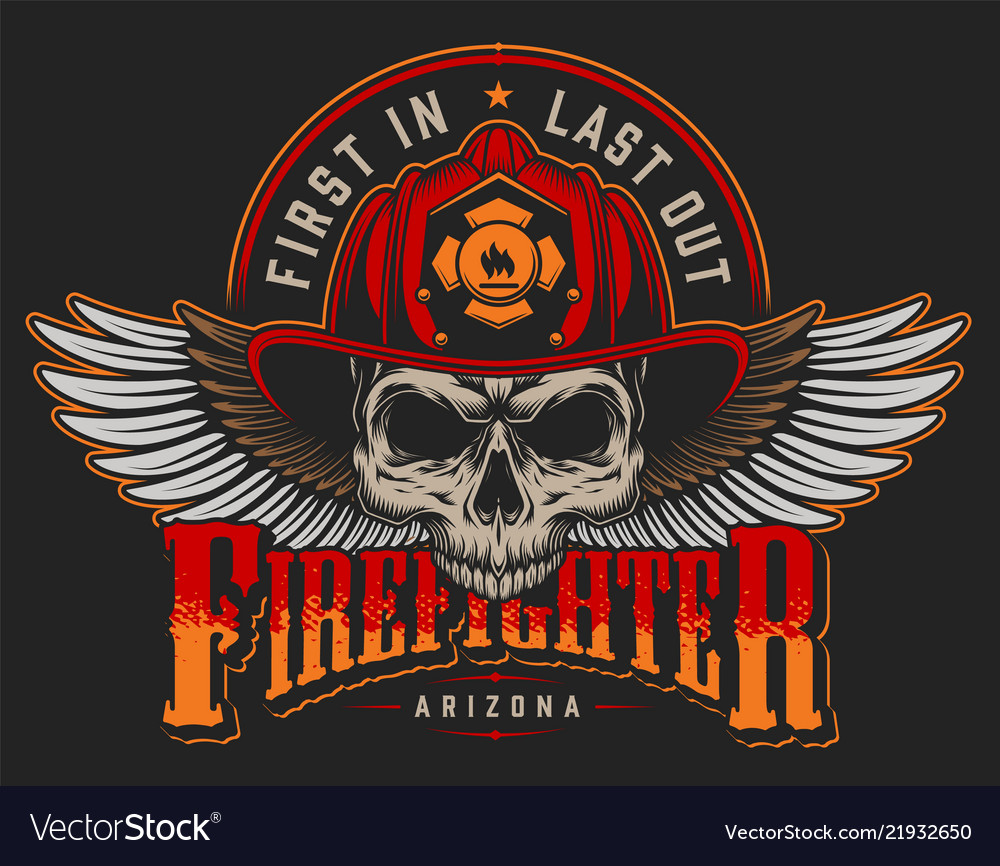 Vintage firefighting label concept