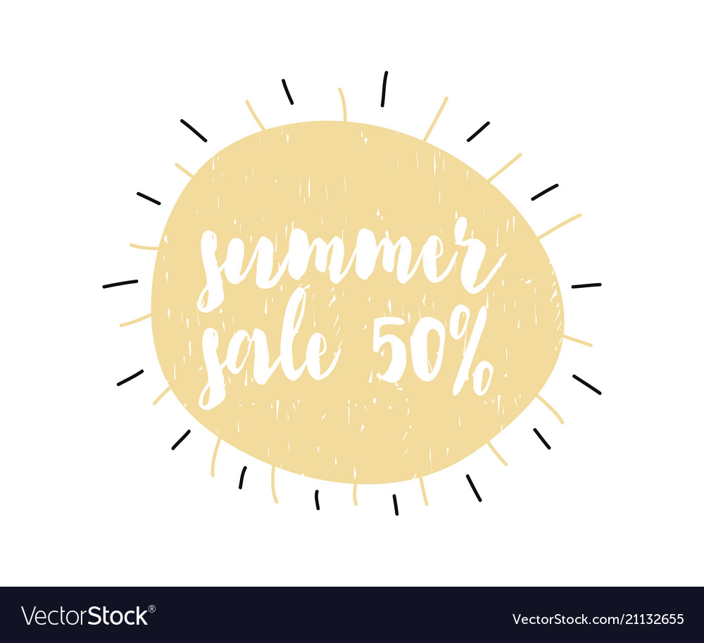 Advert card with calligraphy lettering summer sale