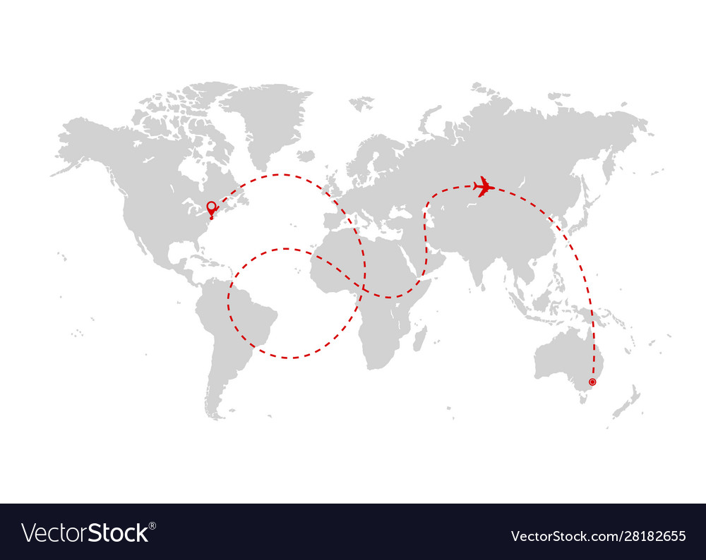 Airplane route world map