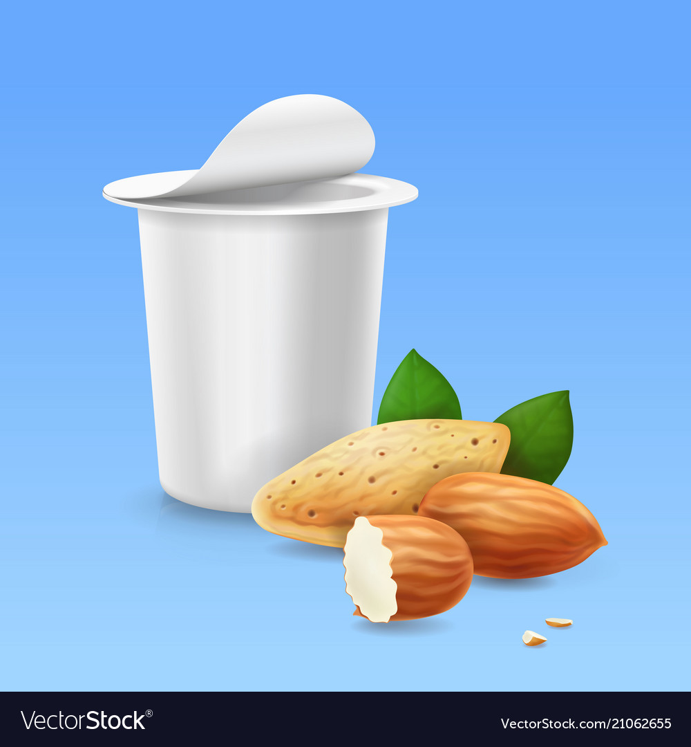 Almond and yogurt package 3d