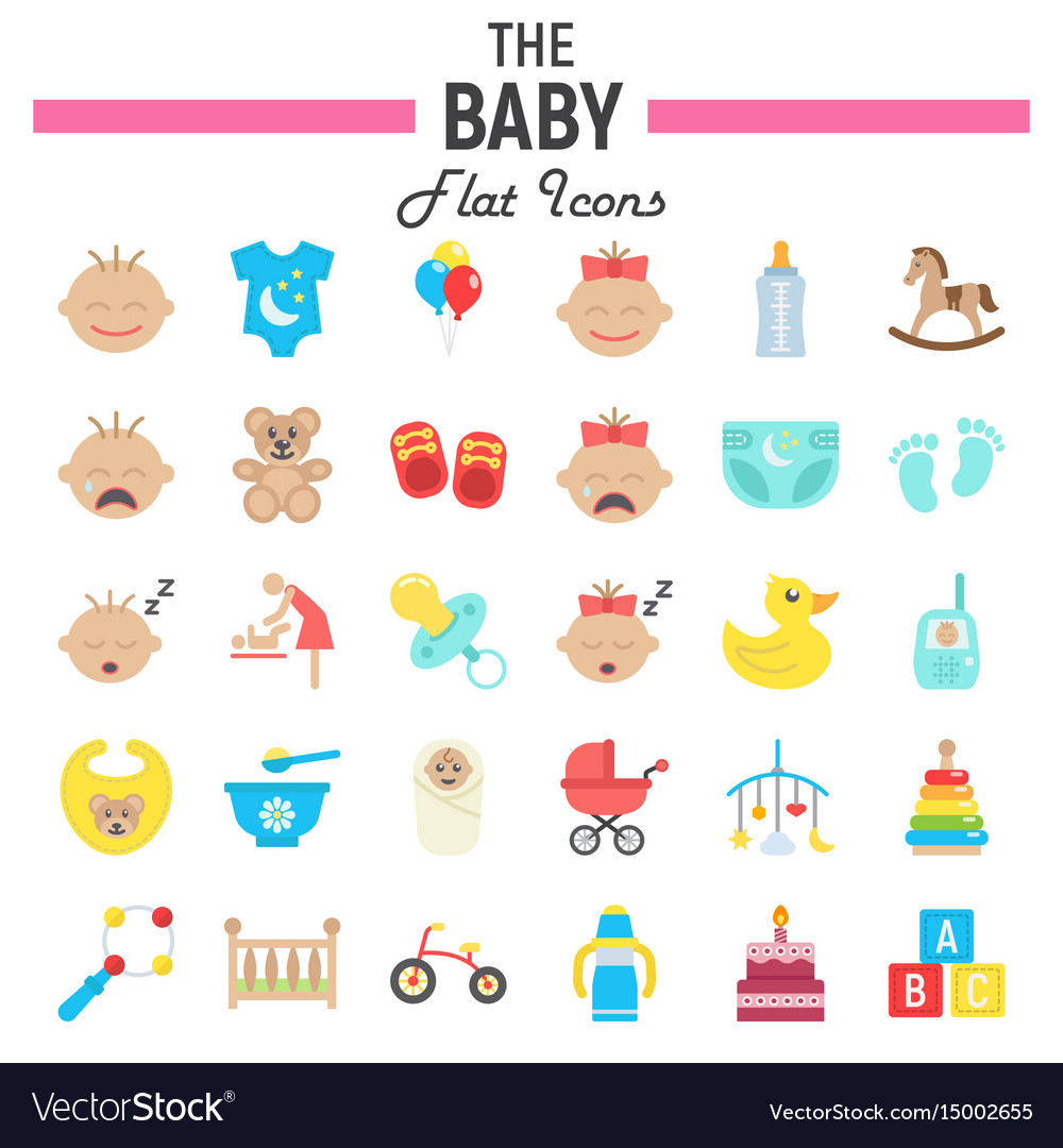 Baby flat icon set kid symbols collection