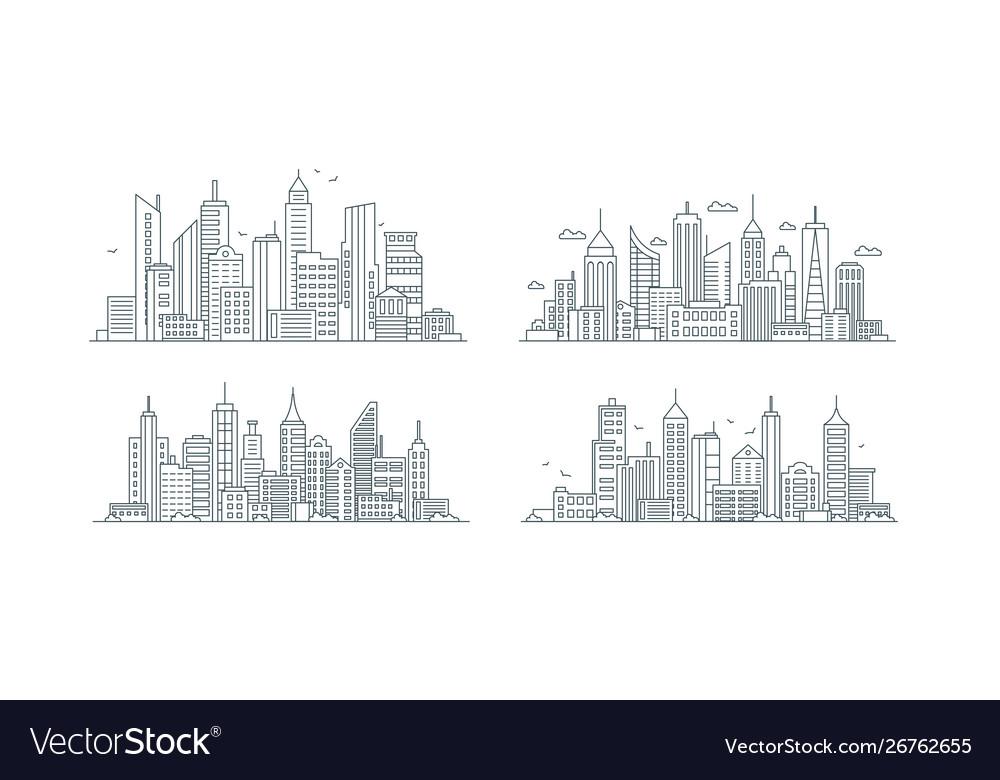 City buildings linear icons set business center