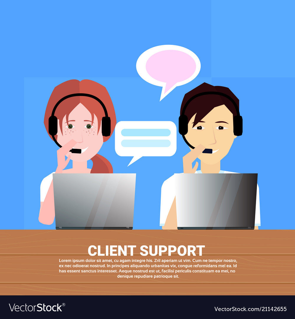 Diverse call center headset agent client support vector image
