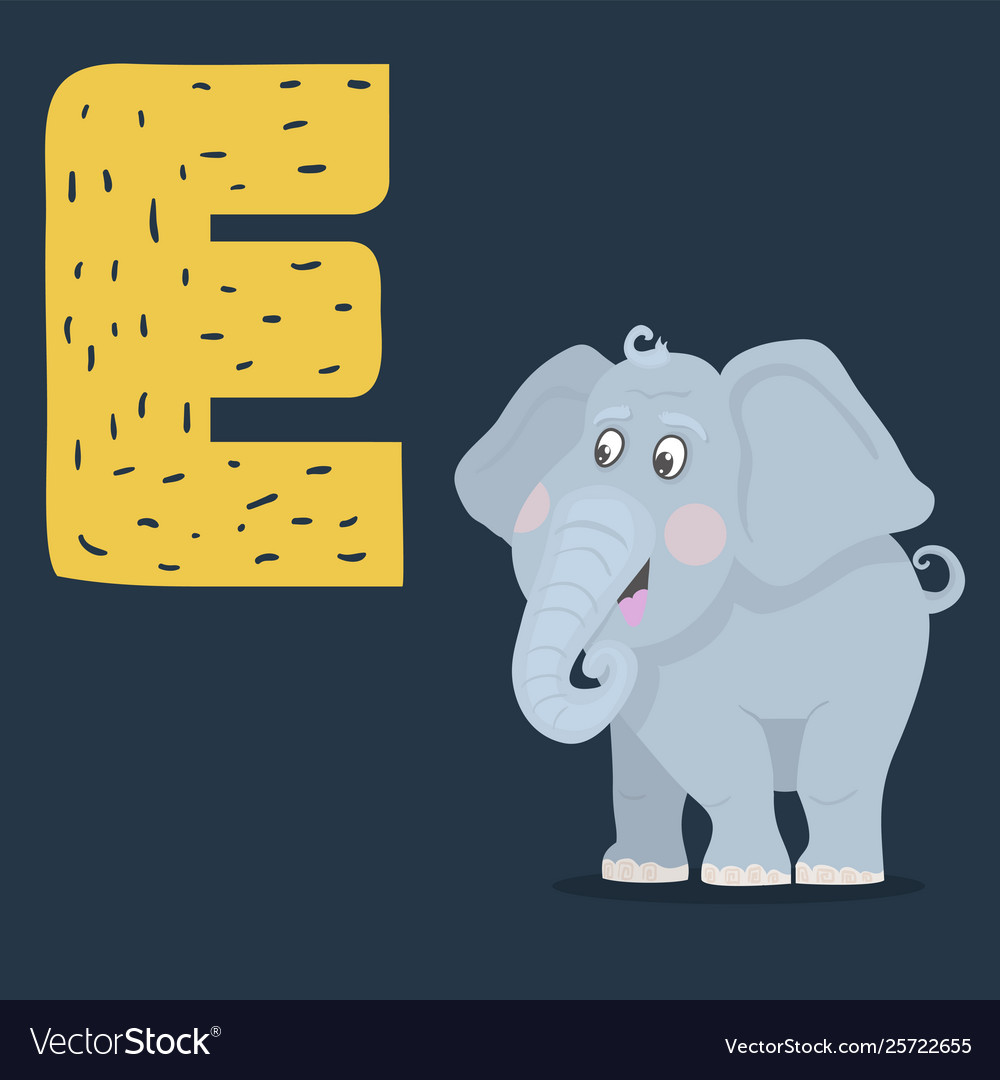 Elephant character with letter e isolated