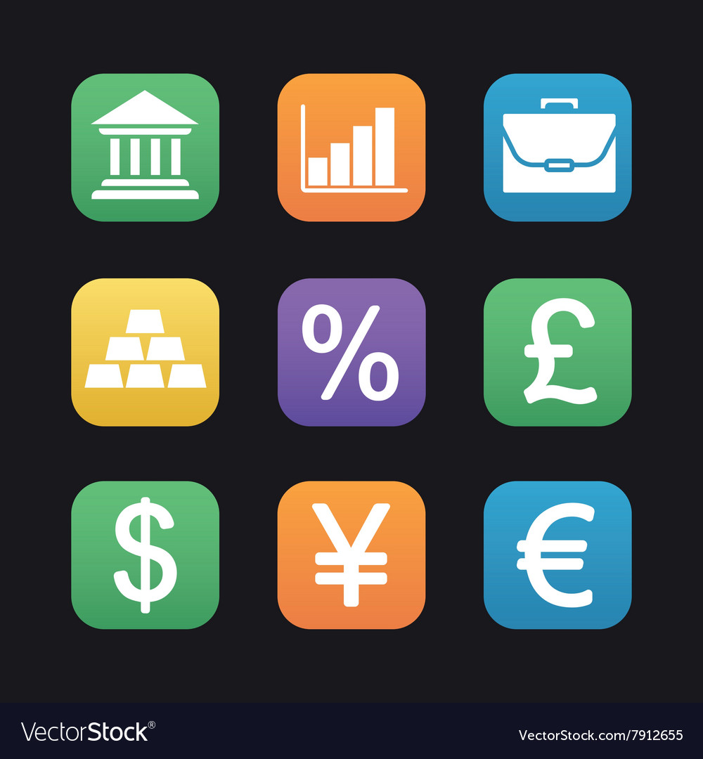 Finance and banking flat design icons set