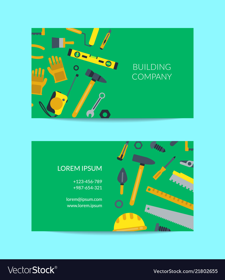 Flat construction tools business card