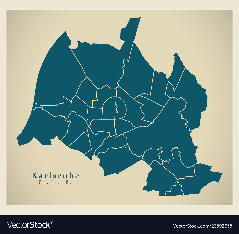 Karlsruhe Map Of Germany.Modern City Map Karlsruhe City Of Germany With