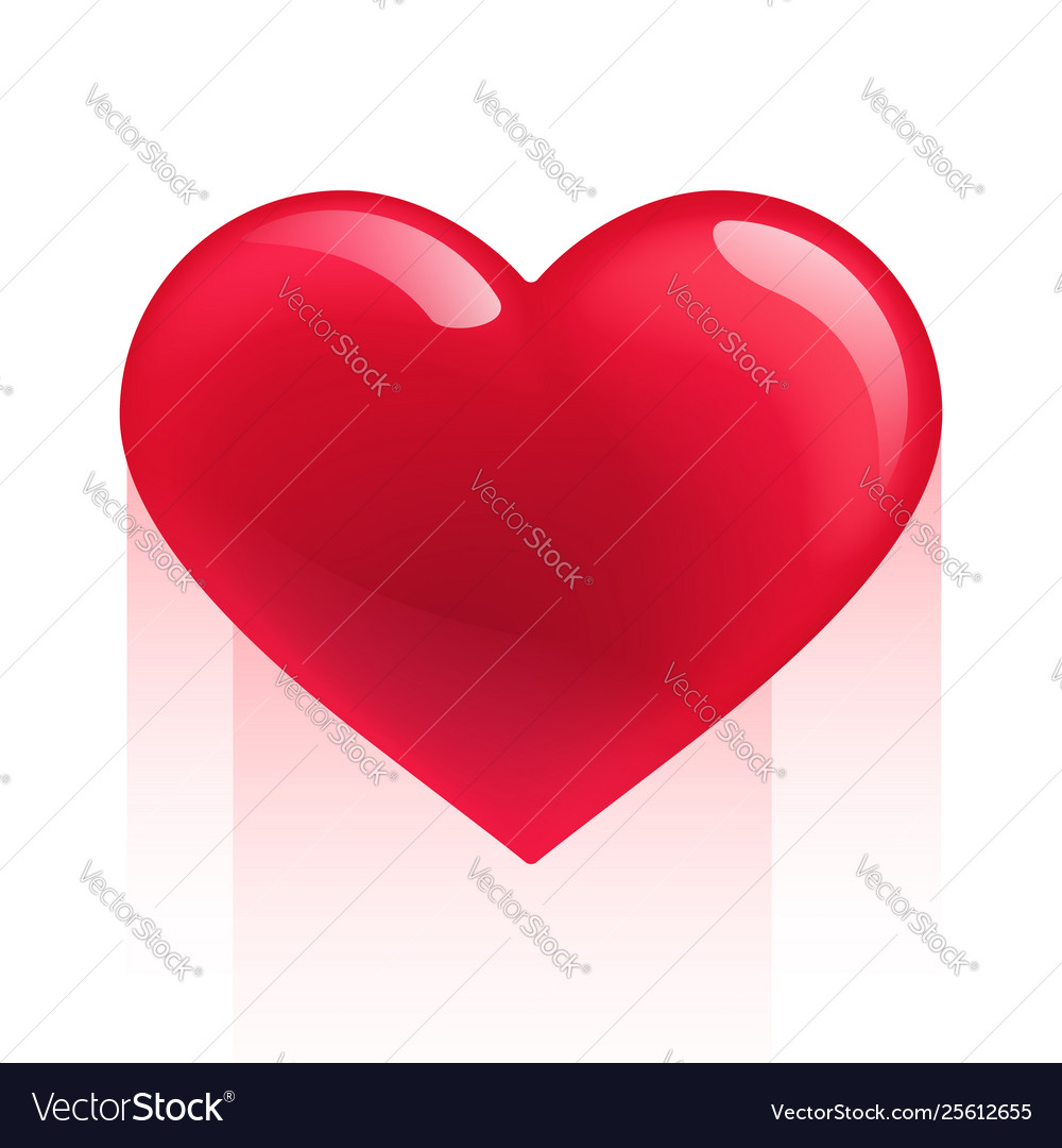 Red realistic heart isolated on white