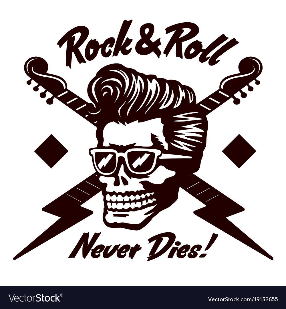 Rock n roll skull with rockabilly hairstyle