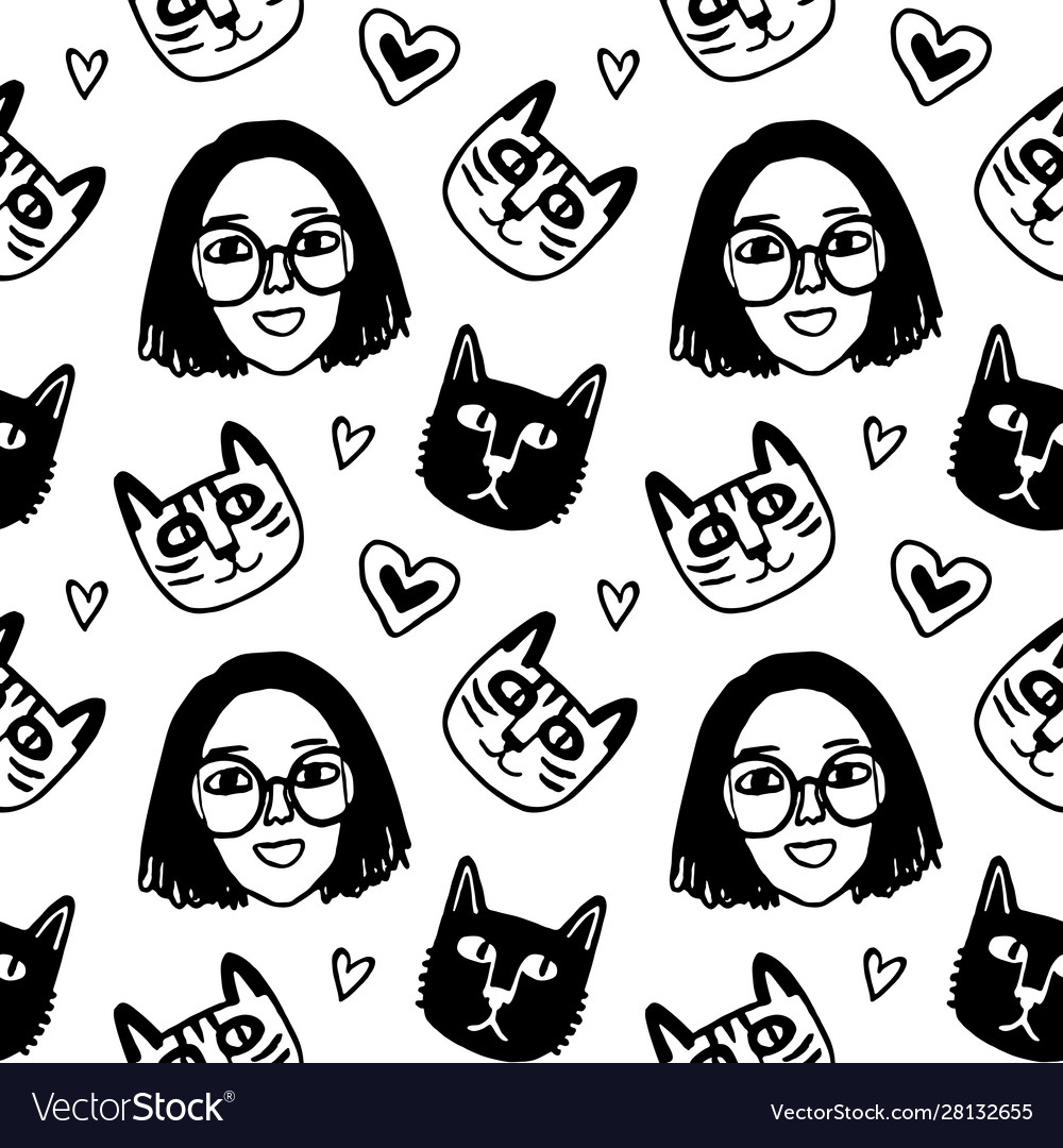 Seamless pattern with cute girl face and cats