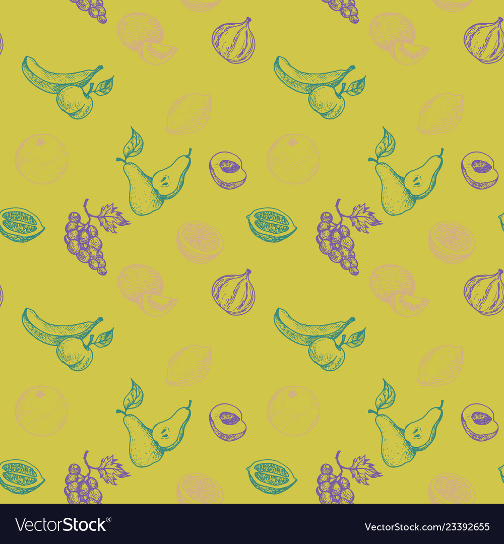 Seamless pattern with drawing fruits
