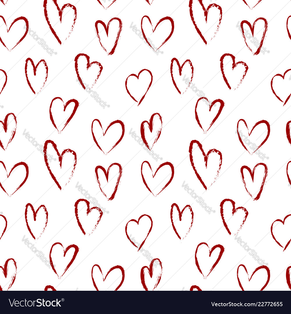 Seamless pattern with red hearts drawn of brush