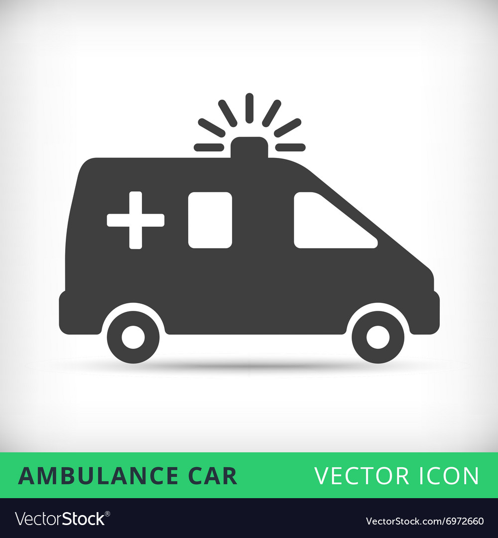 Ambulance car black icon vector image