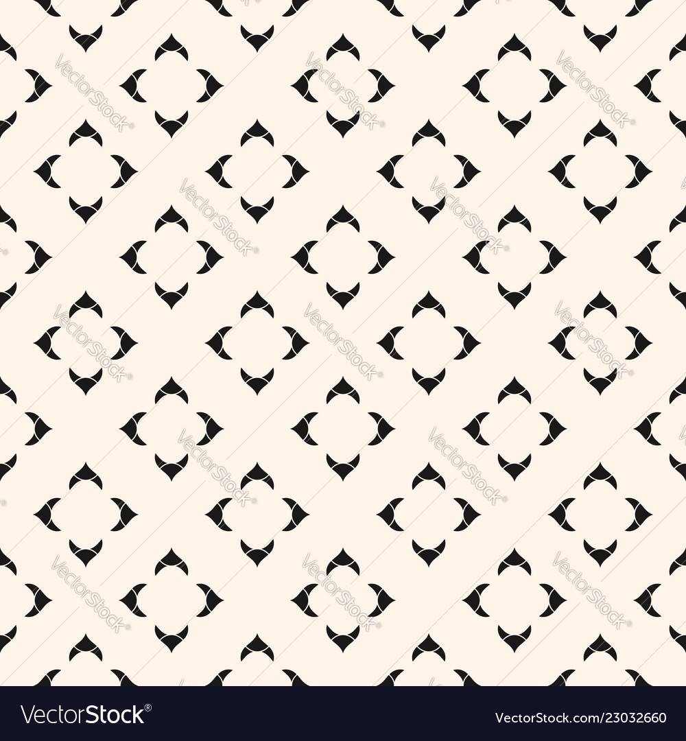Black white ornamental geometric floral pattern