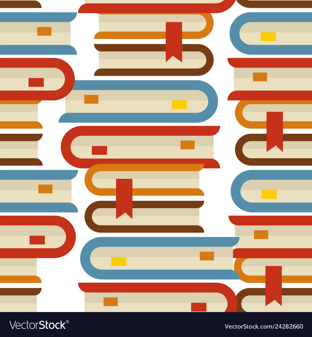 Book piles seamless pattern bookmarks and volumes