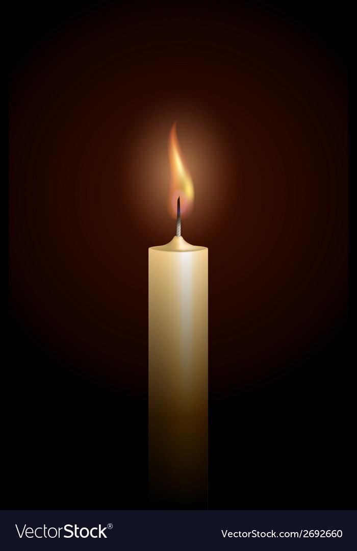 Burning candle on black background vector image