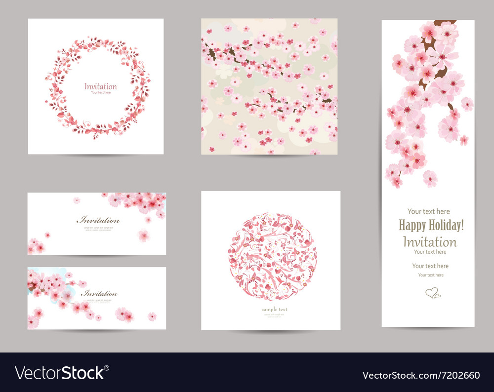 Collection of greeting cards with a blossom sakura