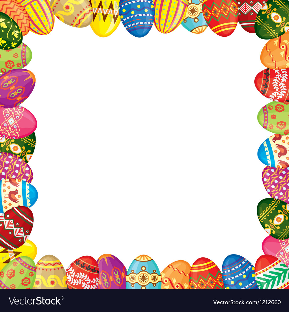 Easter eggs frame Royalty Free Vector Image - VectorStock