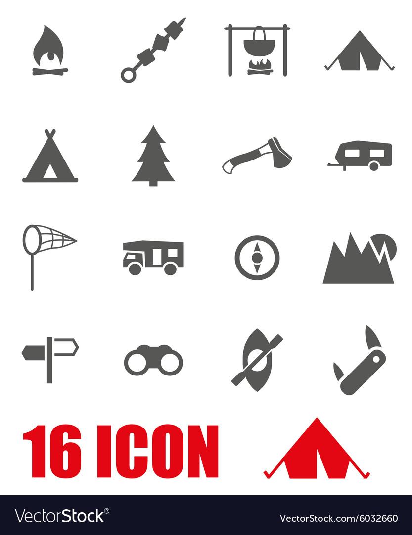 Grey camping icon set