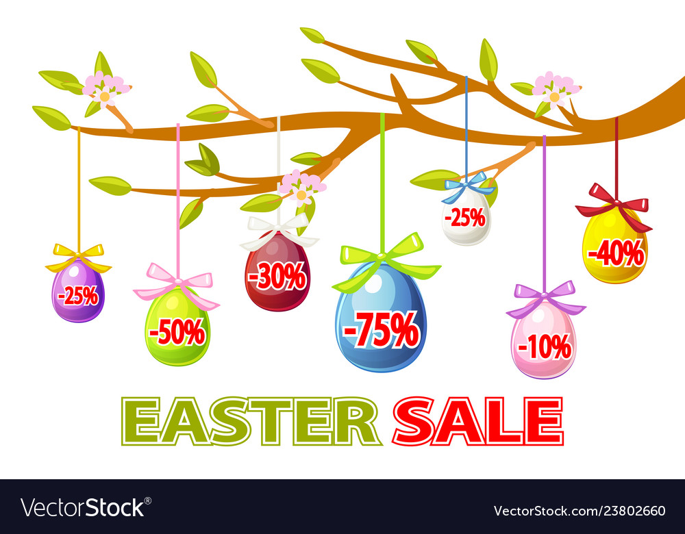 Happy easter hanging eggs sale on a tree