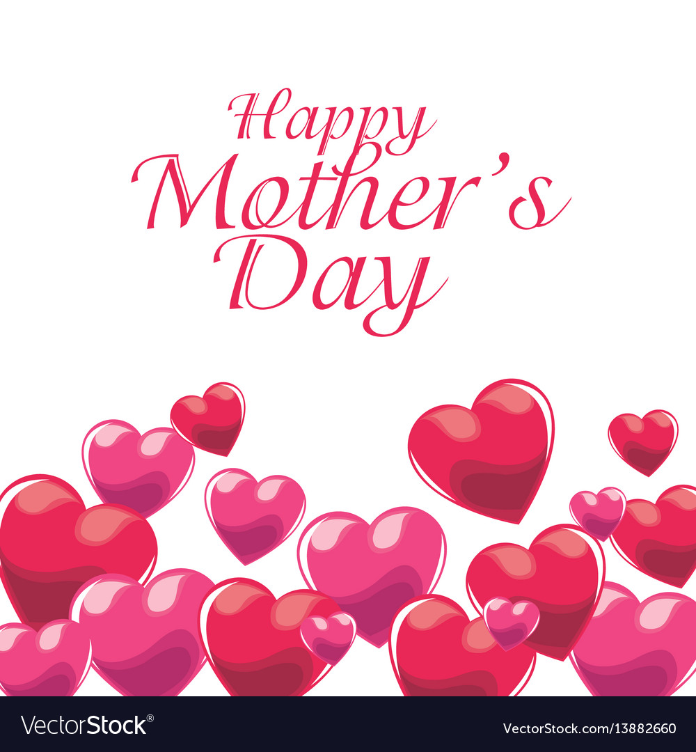 Happy mothers day invitation pink balloons vector image