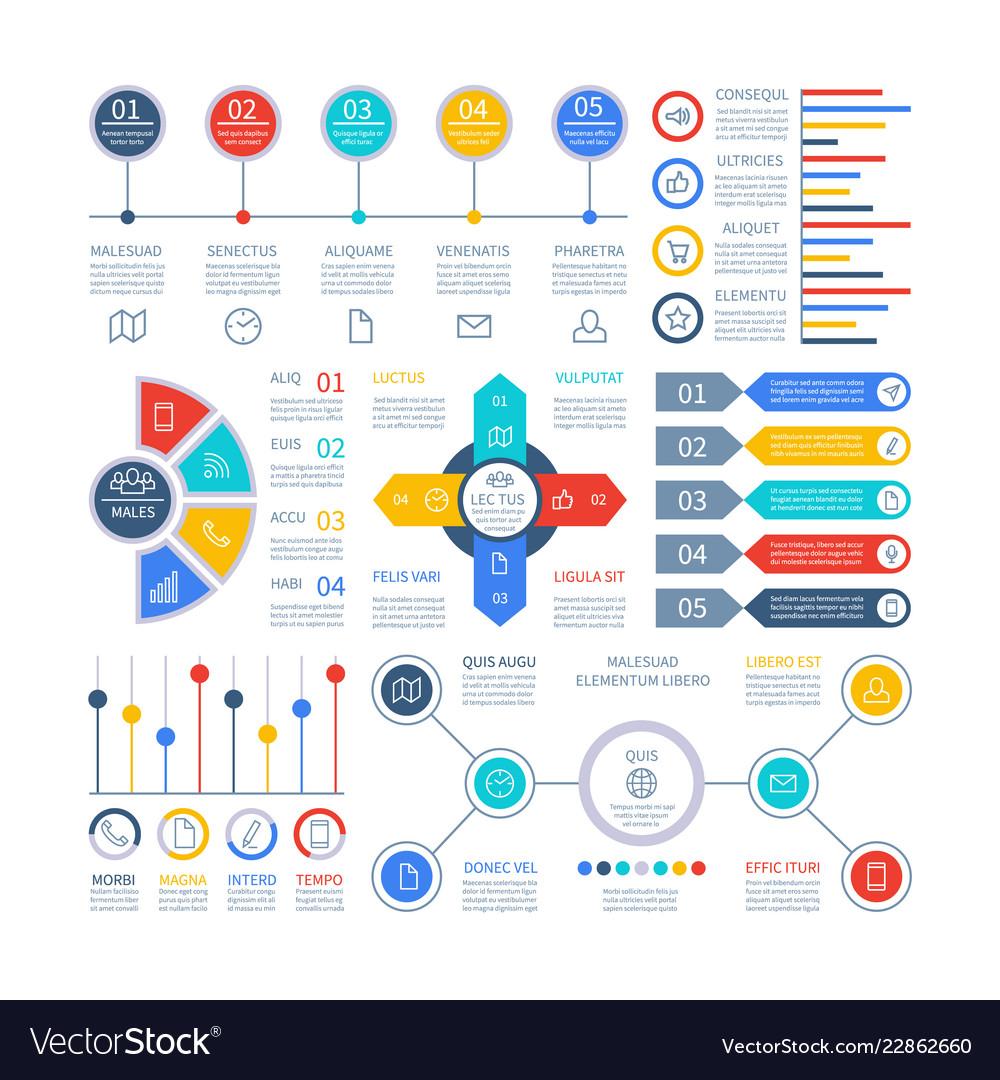 Infographics diagrams infochart elements