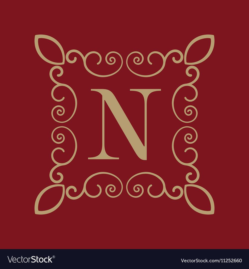 Monogram letter N Calligraphic ornament Gold
