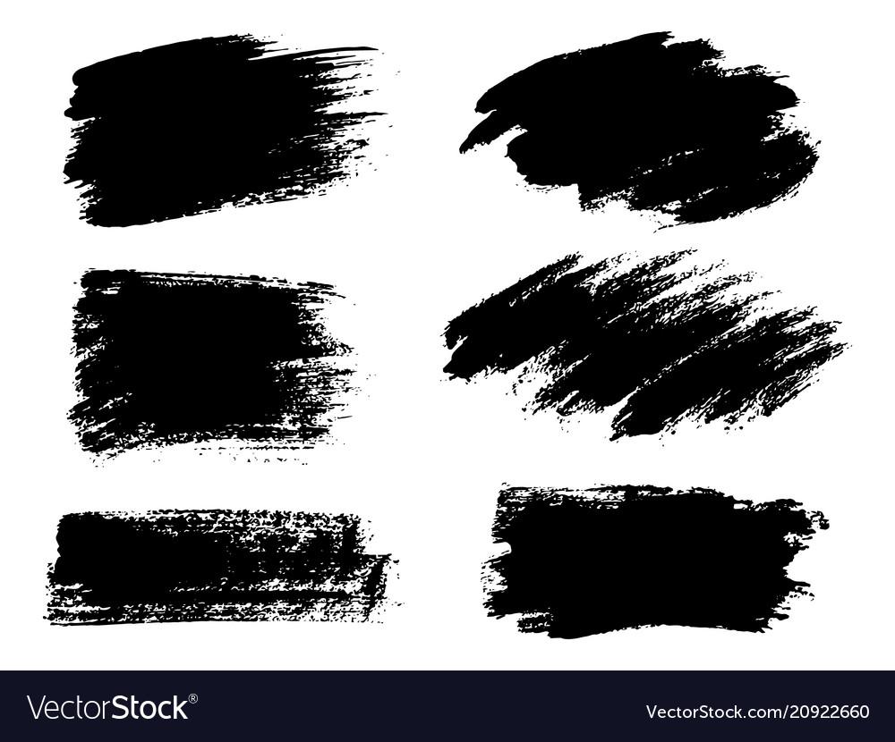 Painted grunge stripes set black labels