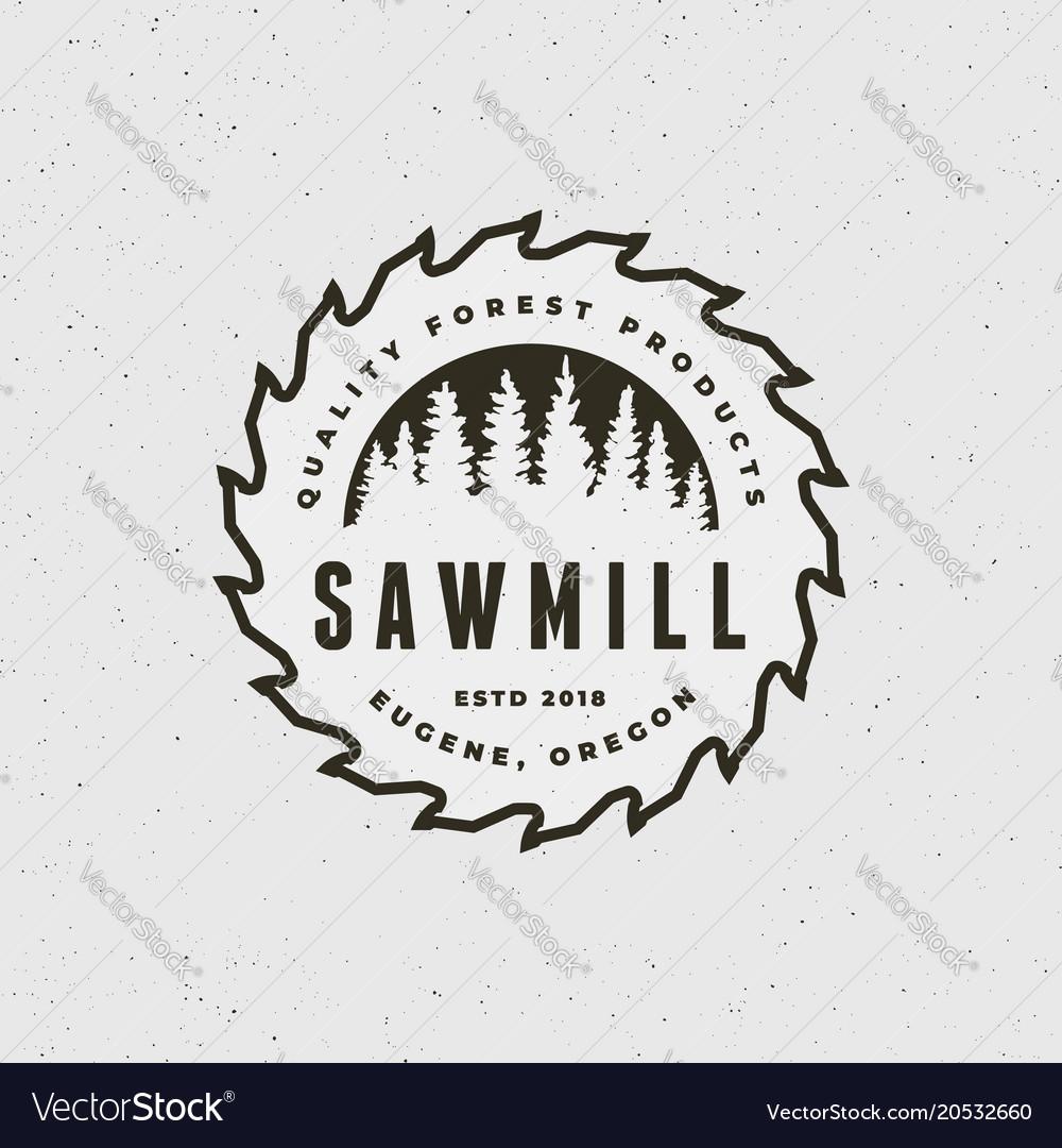 Sawmill logo retro styled woodwork emblem