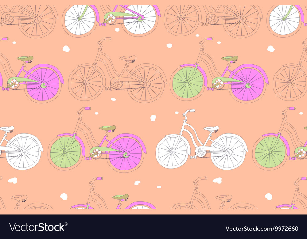 Seamless pattern with vintage bicycles