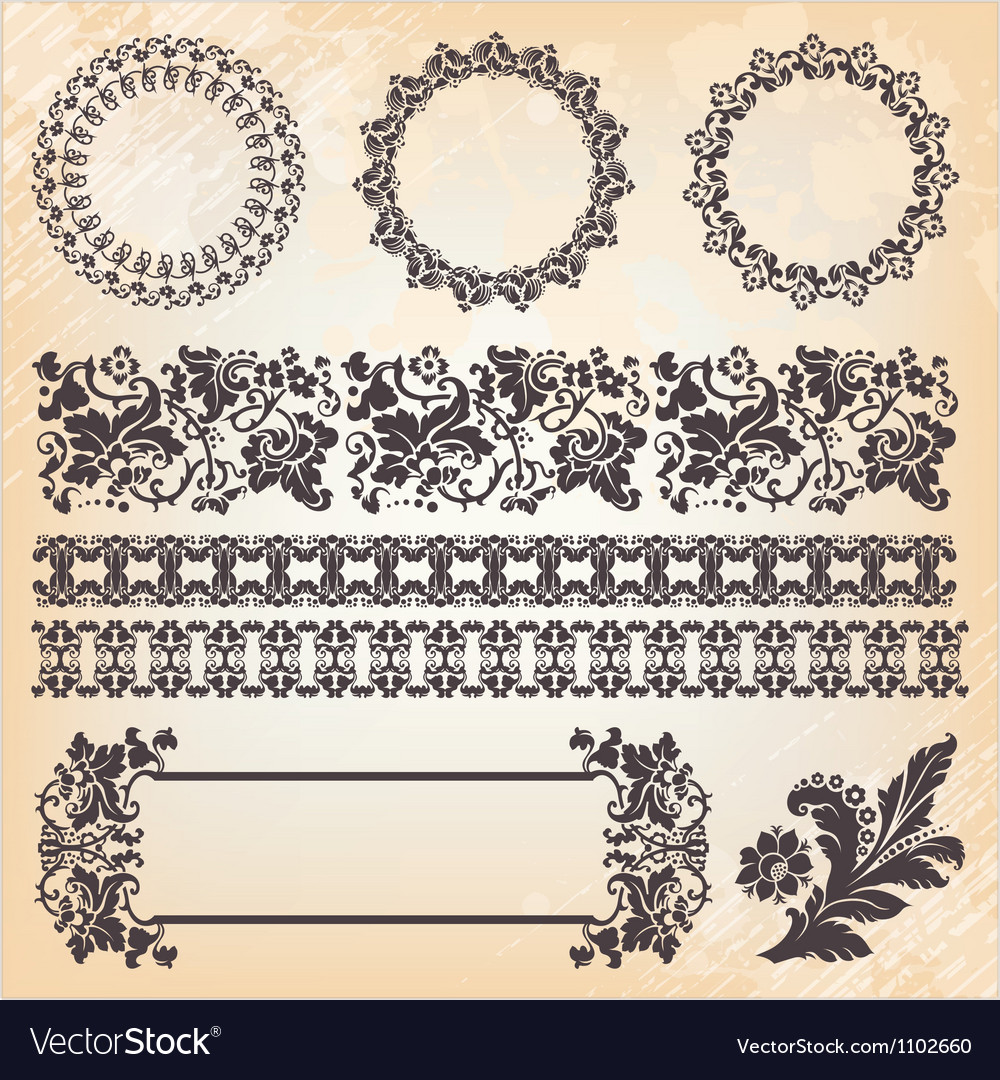 Set of ornate page decor elements borders banner
