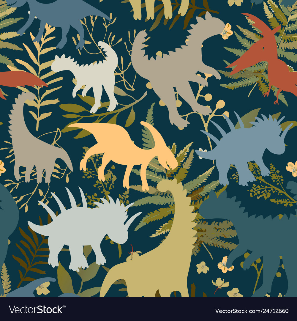Trendy collection with colorful dinosaurs pattern